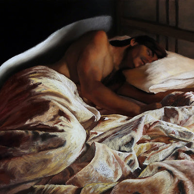 Sleeping Angel Man sleeping in bed with fussed sheets pastel art