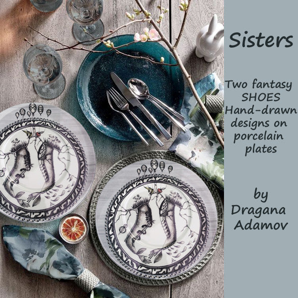 Sisters, an original hand-drawn design on porcelain plate by Dragana Adamov