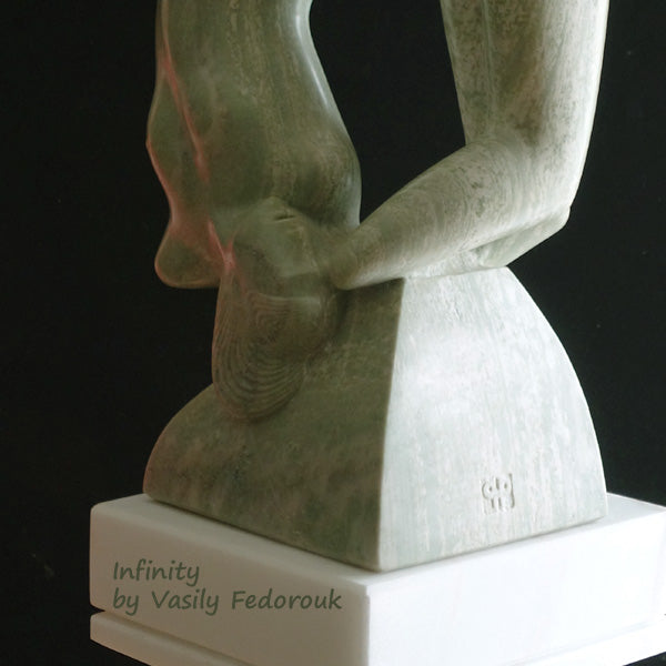 Detail of green marble sculpture Infinity, romantic art by Vasily Fedorouk