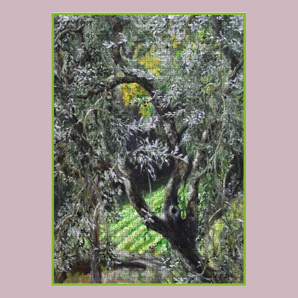 Challenging puzzle of painting of an olive tree in a Tuscan farm by Kelly Borsheim