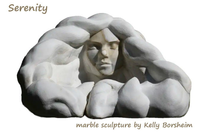 Serenity, serene portrait of a young woman with flowing locks of hair swirling around her, carved in gold-veined Italian marble by Kelly Borsheim