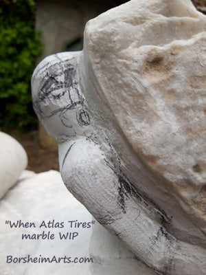 When Atlas Tires is a figurative stone carving work in progress (WIP) in Carrara white marble by Kelly Borsheim