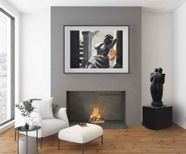 Check out this living room scene with Spotted, a drawing by Kelly Borsheim of a woman and a leopard, with a romantic stone carving of a dancing couple, including ear nibbling in Tango by Vasily Fedorouk.