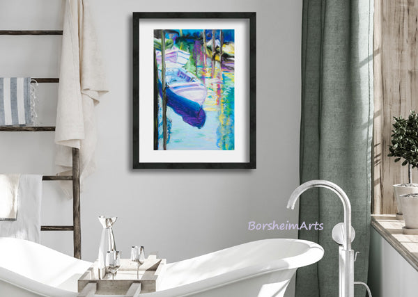 Venetian Boats, fine art digital download for economical yet beautiful home decor, you print and frame yourself DIY art decoration