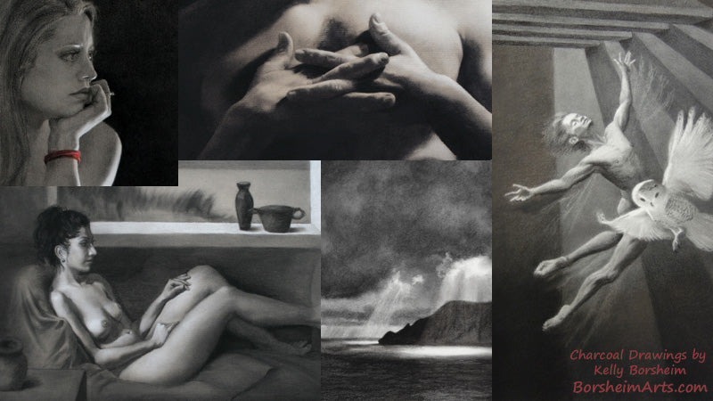Original Charcoal Figure Drawings by Kelly Borsheim classic design art for your home