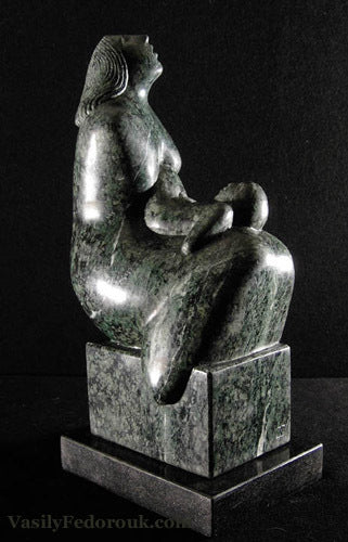 Maternity II Mother and Child stone carving in dark green marble by Vasily Fedorouk