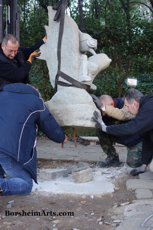 Permanent Installation of the Pinocchio on the Dove stone sculpture into the Pinocchio Park in Collodi, Tuscany, Italy