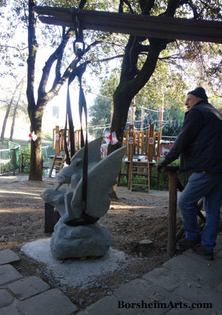 Googles installed in wrong place, intended resting on Pinocchio's nose Park in Collodi Tuscany Italy