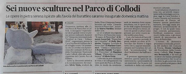 Italian publicity news article Stone Sculptures installed in Pinocchio Park Collodi Tuscany Italy