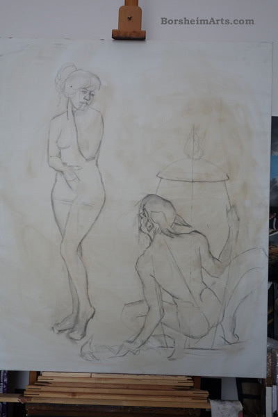 Designing the painting directly on canvas ~ The Curiosity of Pandora