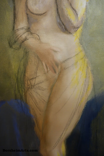 Making corrections in charcoal directly on the canvas of Pandora