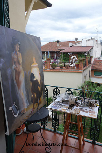 Curiosity of Pandora painting is best judged from a distance on studio balcony