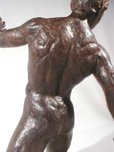 Back View Torsione Nude Male Dancer Twists Torso On His Knees Movement Bronze Statue