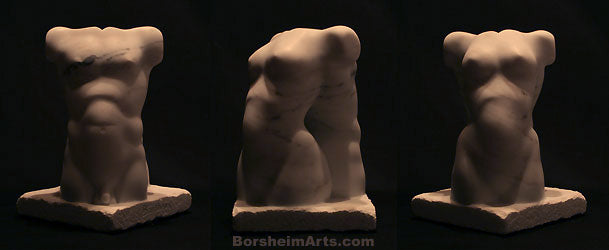 Back to Back Marble Sculpture of Man and Woman Two Torsos