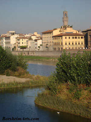 The Palazzo Vecchio in Florence, Italy from The Arno River