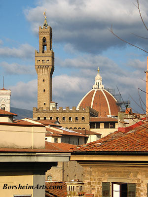 The Palazzo Vecchio in Florence, Italy, with the Famous Duomo to the right