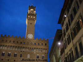 The Palazzo Vecchio in Florence, Italy, with the famous cobalt blue sky