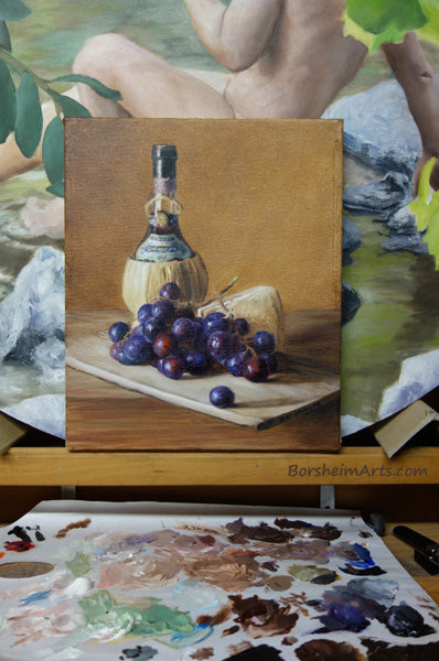 Chianti Wine, Cheese, and Grapes Still Life Oil Painting in front of painting palette
