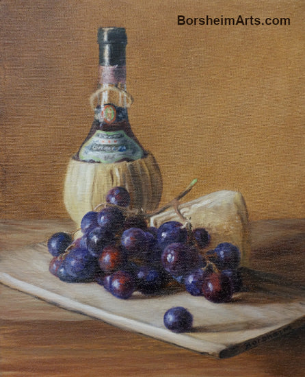 Chianti Wine Grapes and Cheese Still Life Painting Italian Foods
