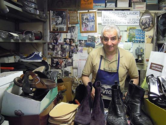 Giuseppe in his shoe repair shop Florence Italy Inspired a Still Life Painting with his tools