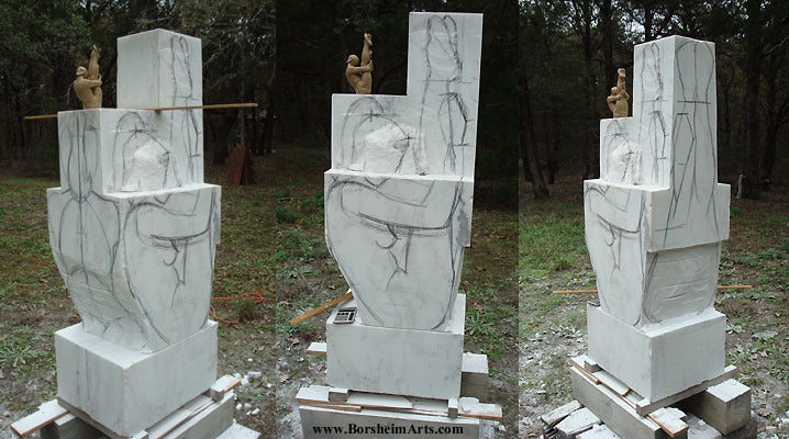Three views of drawing on marble as a DIRECT CARVER stone carving process Gymnast sculpture