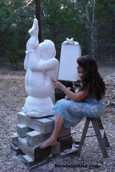 Portrait of the artist by her mother while Borsheim and Cat polish Marble Statue Gymnast