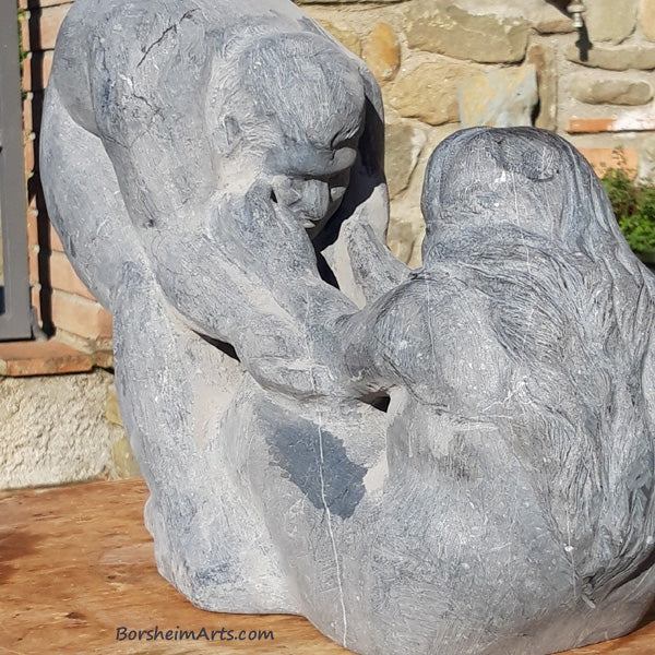 Stone Sculpture of Couple Man helping a woman Contemporary Art Carving