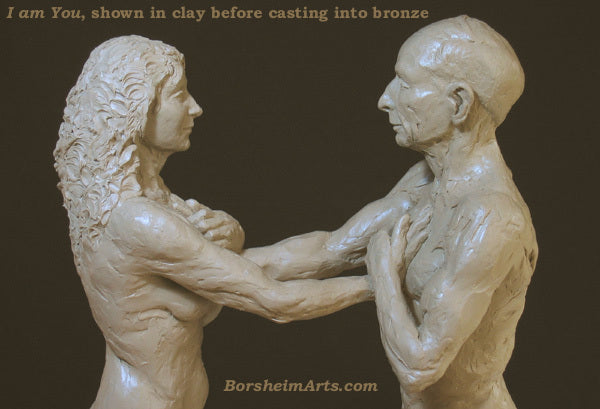 I am You shown in plastilina clay before casting into bronze figurative couple art
