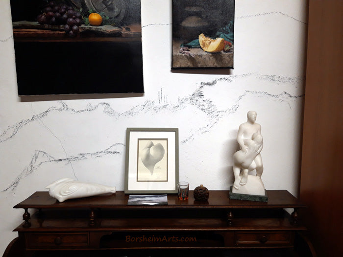 Close-up image of the BEFORE mural wall with white sculptures in my personal art collection by Vasily Fedorouk