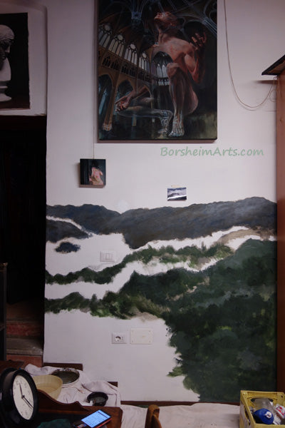 Mural painting progress.  Near the bottom, I must decide what I leave as white clouds and what dark hills.