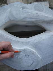 Carving Pelican Lips - Contemporary Stone Sculpture Drawing on Marble