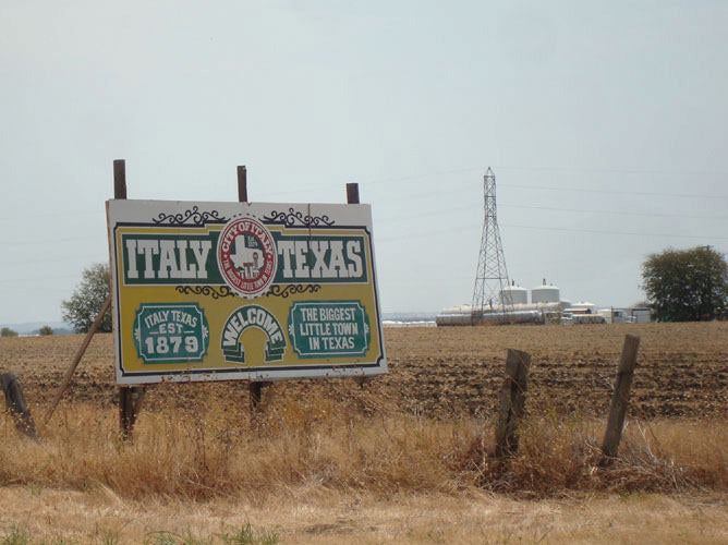 Billboard from IH-35 indicating Italy, Texas . . . seemed destiny to connect the two places