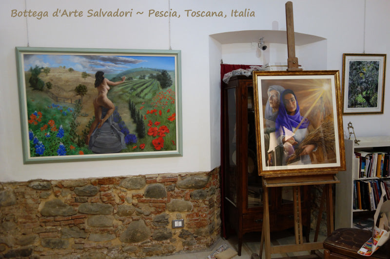 Persefone and Ruth, two paintings on exhibit in Tuscany by Kelly Borsheim
