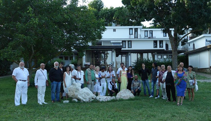 A large group of international artists and art symposium organizers Rusalka Bulgaria