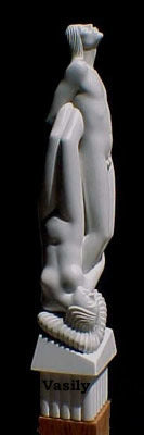 Children of Paradise Man and Woman Couple Art in Green Canadian Marble
