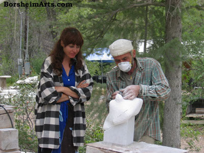 Artist Kelly Borsheim Learns Carving Techniques from Vasily Fedorouk in Marble, Colorado.