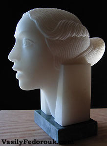 Portrait of a Lady Woman Head in Marble Sculpture