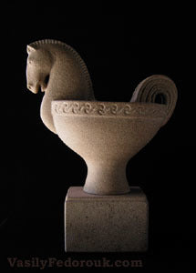 Horse Vase Sculpture Stone Carving
