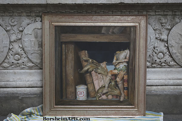 Sitting on a Shelf Headless Wooden Puppet Books Library Vintage Italian Frame