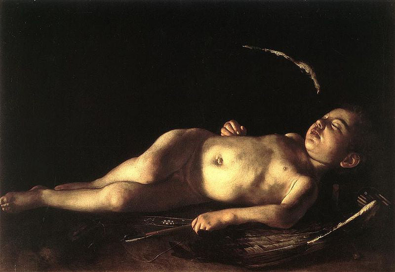 Caravaggio painting Sleeping Cupid painted in 1608 See at Palazzo Pitti Florence Italy