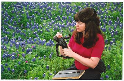 Texas Bluebonnets Artist Kelly Borsheim Carves Wax Torsione Prior to Casting Into Bronze Art