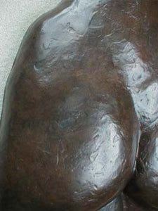 Detail of Patina Ten ~ Large Bronze Wall Hanging Female Back Bas-Relief Sculpture