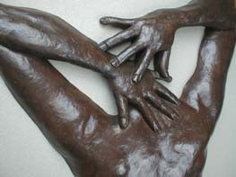 Detail of hands Ten ~ Large Bronze Wall Hanging Female Back Bas-Relief Sculpture