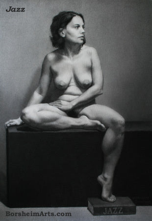 zSOLD A World Away (Jazz) ~ Charcoal Figure Drawing Seated Nude Woman