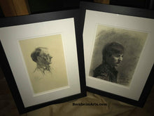Load image into Gallery viewer, Shown Framed here with Pencil Portrait drawing of Harry another Art Student Anthony Charcoal Drawing Portrait of Young Man