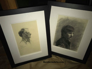 Shown Framed here with Pencil Portrait drawing of Harry another Art Student Anthony Charcoal Drawing Portrait of Young Man