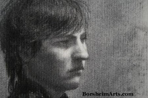 Detail Head Fellow Art Student Anthony Charcoal Drawing Portrait of Young Man
