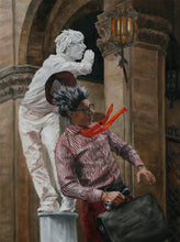 Load image into Gallery viewer, Buskers in Firenze Mimes Performing Artists Florence Italy Painting