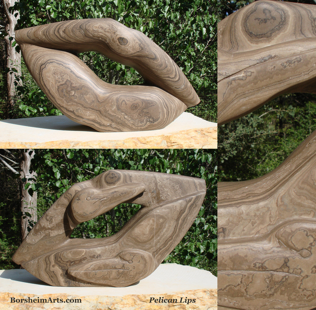 Pelican Lips Marble Sculpture like Petrified Wood Front and Back Views