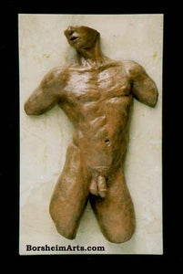 Valentine Male Nude Torso Bronze Wall Hanging Art